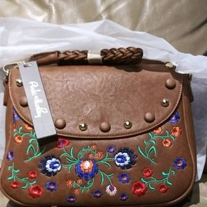 BROWN CROSSBODY BAG WITH BEATIFUL FLORAL DETAIL